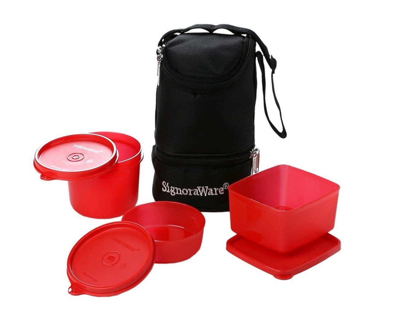 Signoraware Trio Plastic Lunch Box with Bag, Deep Red