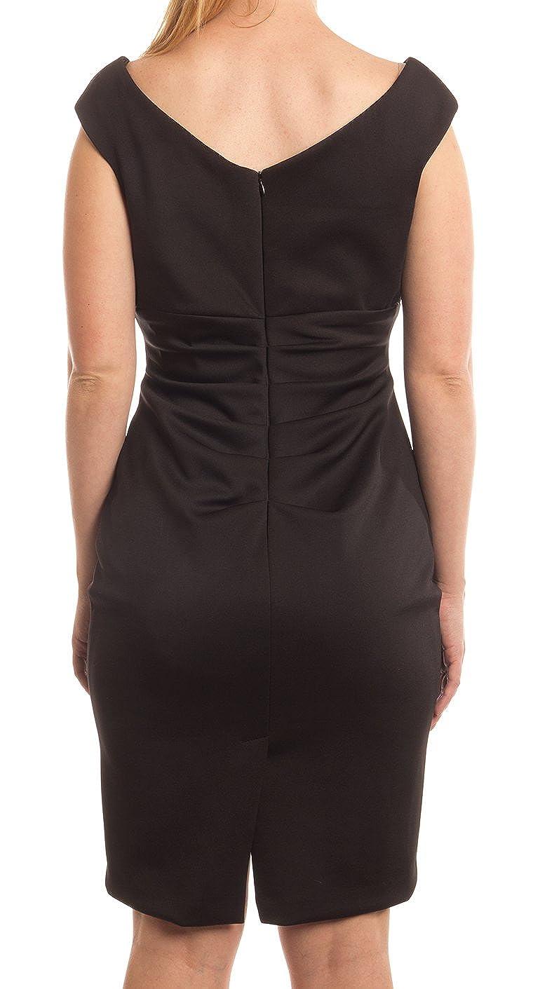45c44a2d Amazon.com: Xscape Petite Cap-Sleeve Ruched V-Neck Sheath Dress, Black, 8P:  Clothing