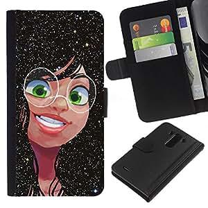 Planetar® Modelo colorido cuero carpeta tirón caso cubierta piel Holster Funda protección Para LG G3 / D855 / D850 / D851 ( Nerd niño fresco Chica Negro Cartoon)