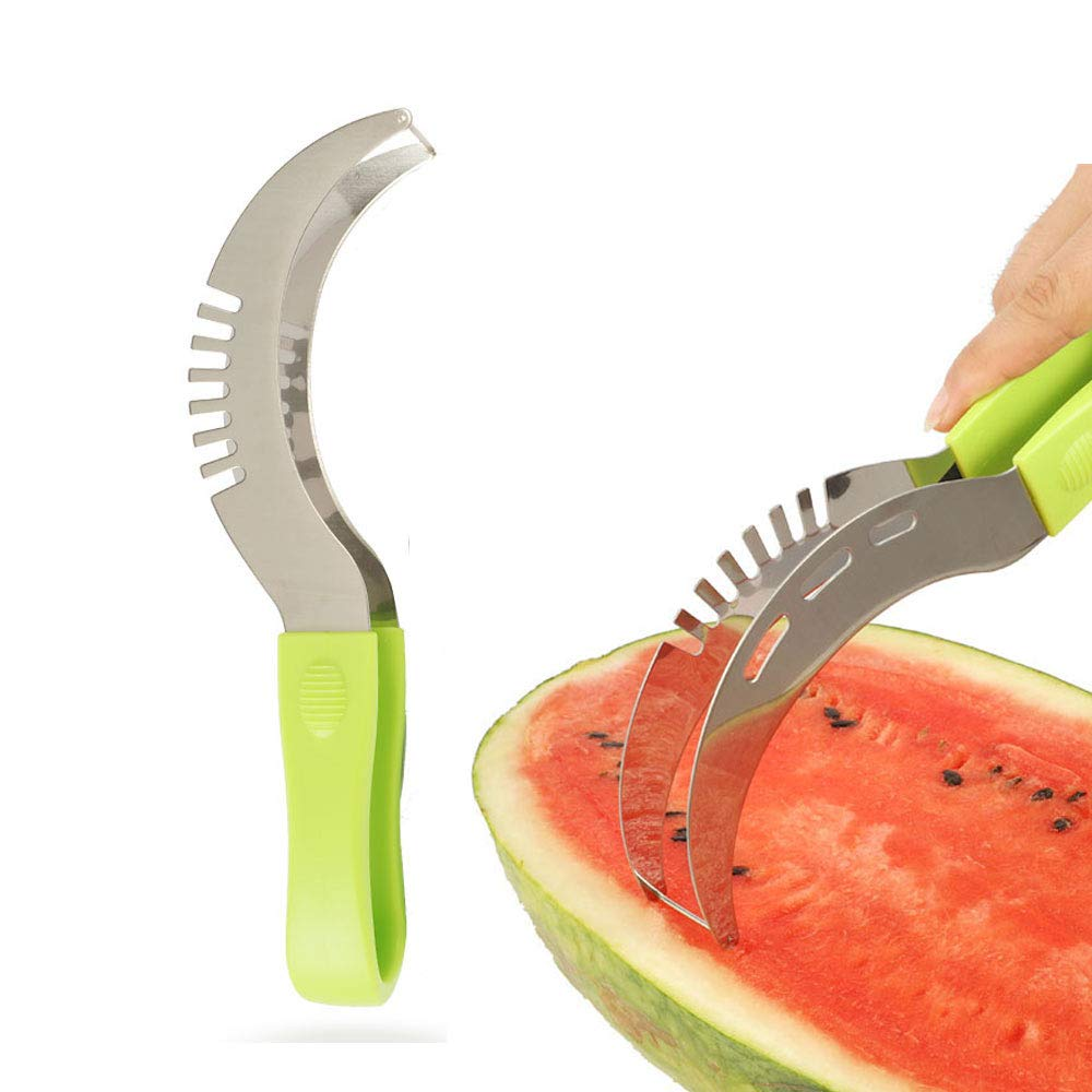 Tollcuudda Stainless Steel Watermelon Slice-Extended Silicone Cushioned Handle Made to Slice and Serve with Ease