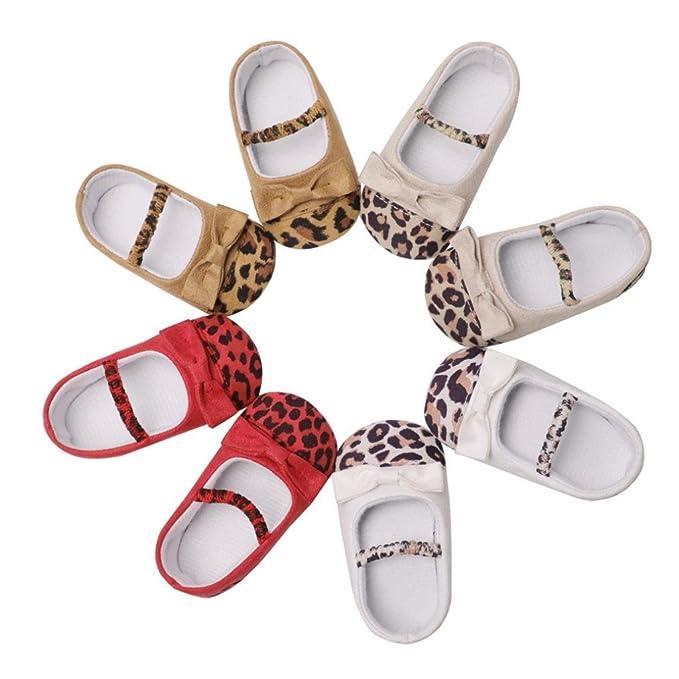321b2ba73a798 Amazon.com : YJYdada Toddler Infant Baby Girl Leopard Bow Crib Shoes ...