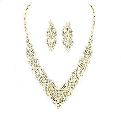 Amazoncom Women Crystal Lace Filigree V Drop Affordable Necklace