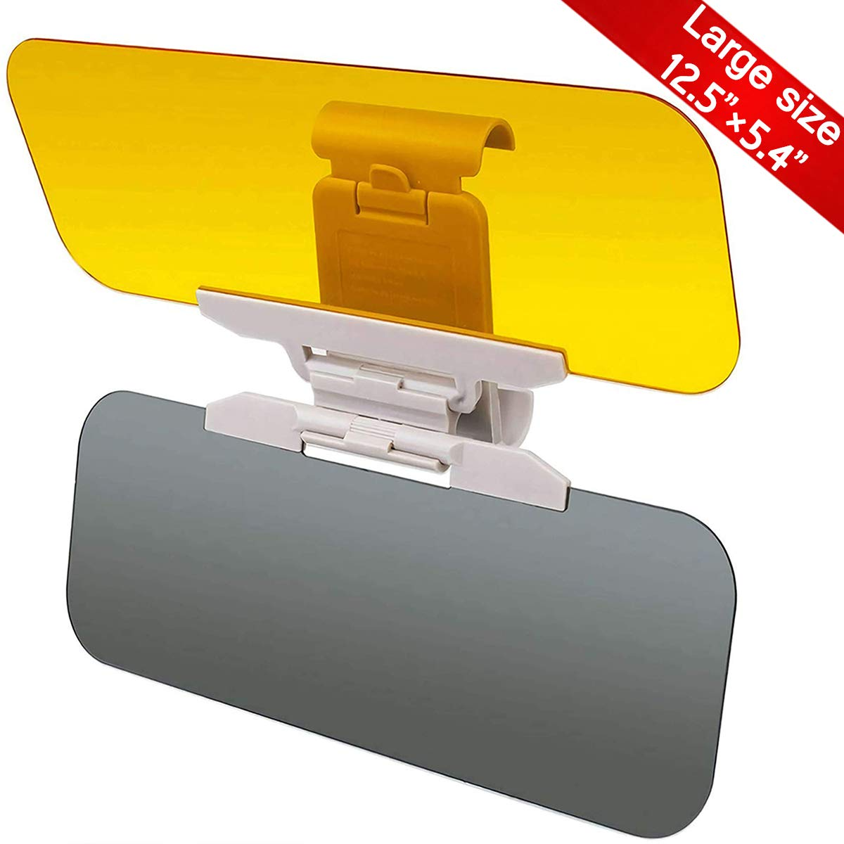 Yanztech Upgrade Car Sun Visor, Auto Windshield Anti-Glare Tac Visor, 2 in 1 Anti-Dazzle Day and Night Sun Visor Extender Mirror Vision, HD Sun Visor Protector for Car Windshield