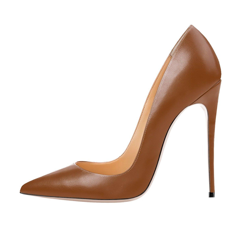 Jushee Damen Sexy Klassische Schwarz Stiletto High Heels Kleid Buuml;ro Pumps38 EU|Braun01