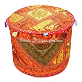 Stylo Culture Ethnic Pouf Cover Round Indian Embroidered Mirror Patchwork Pouffe Ottoman Cover Multicolored Cotton Abstract Traditional Furniture Footstool Seat Puff Cover (22x22x14)