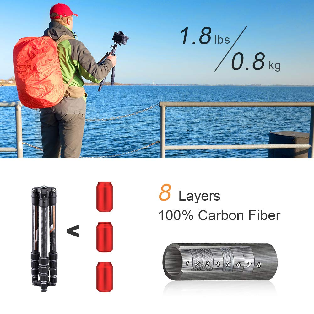K&F Concept Professional Carbon Fiber Camera Tripod with 360 Degree Ball Head Quick Release Plate for DSLR Camera, Load up to 26.5 pounds/12 kilograms by K&F Concept (Image #2)