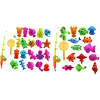BAOBLADE 2 Set of 27Pcs Fish Game Magnetic Fishing Pole Rod Fish Marine Organisms Model Set Kid Toy Educational