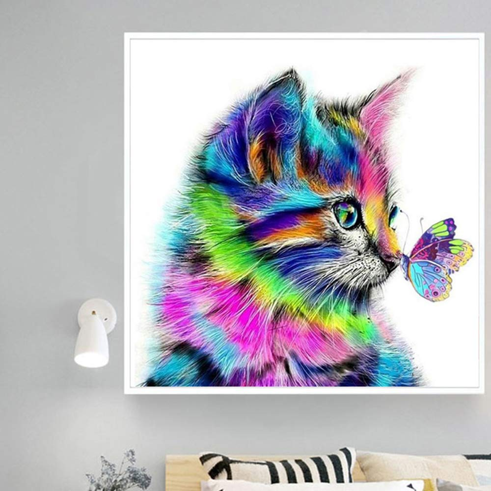 DCIDBEI Diamond Painting Kits for Adults Cats,Cat and Butterfly,Cat Cross Stitch Rhinestone Embroidery Cross Stitch Kits Supply Arts Craft Canvas Wall Decor Stickers 30x30 cm