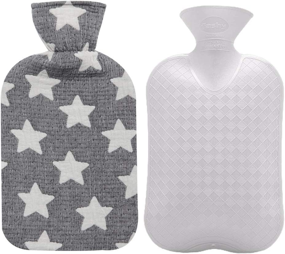 Fashy Hot Water Bottle with Star Pattern Cotton Cover (Gray,67oz)