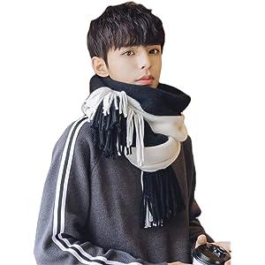 Alhyla スカーフ メンズ マフラー 大判 男女兼用 韓国風 冬 無地 スヌード スカーフ カップル 軽量 可愛い おしゃれ ハンサム かっこいい マフラーA