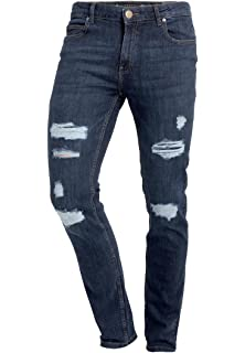 Mens Crosshatch Stretch Skinny Slim Fit Designer Torn Ripped Distressed Jeans