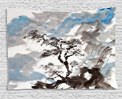 Artistic Tapestry - Ambesonne Japanese Decor Collection, Hazy Artistic Depiction of A Pine Tree Landscape on the Hill Mountain with Rough Blasts , Bedroom Living Room Dorm Wall Hanging Tapestry, 60W X 40L Inch, Multi
