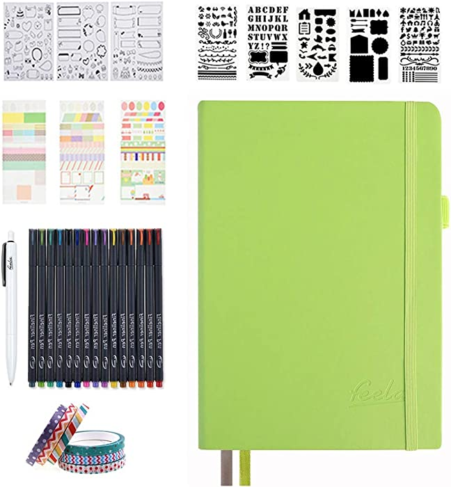 Dotted Journal Set, 224 Numbered Pages Faux Leather A5 Grid Hard Cover Apple Green Notebook Planner with Index Inner Pocket, Abundant Accessories for Beginners Planner Schedule by Feela