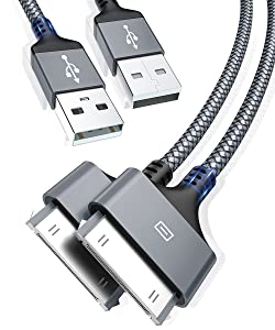 AkoaDa Apple Certified 30 Pin USB Charging Cable 10ft 2 Pack, USB Sync Charging Cord Cables Compatible iPhone 4/4s,iPhone 3G/3GS,iPad 1/2/3,iPod Touch 4/3/2/1,iPod Classic 3/2/1, Grey