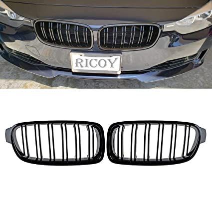 Ricoy Gloss Black For BMW F30 F31 2012-2018 3-Series xDrive Twin FIns  Double Line Front Kindey Grille Grill W/M3 Emblem