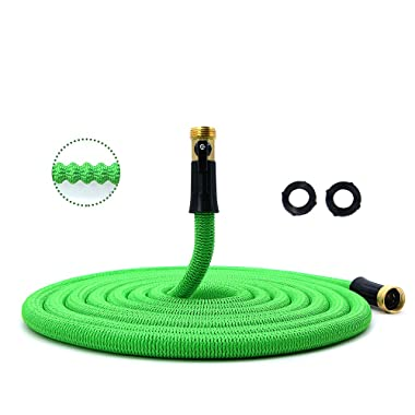 Garden Hose, Lightweight Expandable Water Hose, Expanding Hose with Solid Brass Connector, Double Latex Inner Tube, for Car Washing, Garden Watering (50ft, Green)