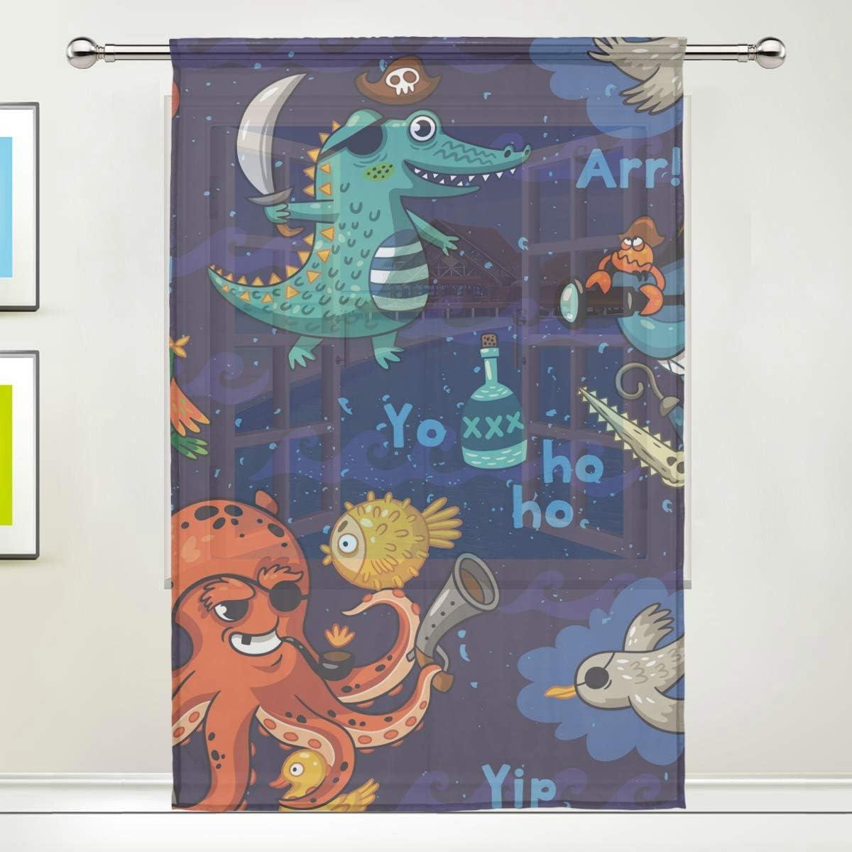 /él/égant JIRT Sheer Curtains-Funny Cartoon Ocean Animal Pirates-1 Panneau W55 x L78 Pouces-Voile Tulle Rideaux-Panneau Beau Rideaux de fen/être pour la d/écoration Chambre Salon