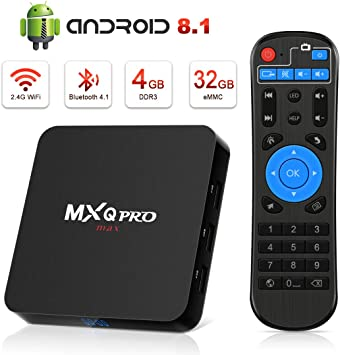 Android 8.1 TV Box [4GB RAM+32GB ROM], Android TV Box 4K, USB 3.0, BT 4.0, UHD H.265, HDMI, Smart TV Box Quad Core WiFi Media Player, Box TV Android: Amazon.es: Electrónica