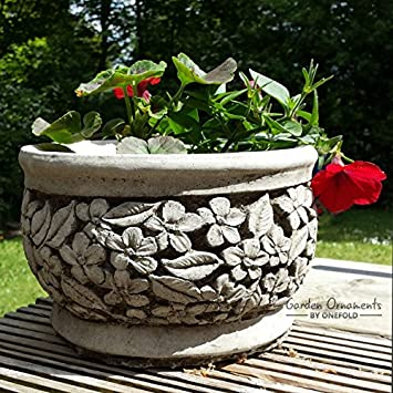 Maceta de piedra para jardín/maceta de piedra moldeada a mano ...