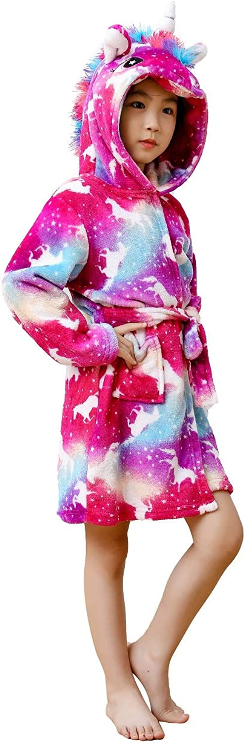 Unisex Children's Flannel Unicorn Bathrobes Hoodie Unicorns Gifts for Girls: Clothing