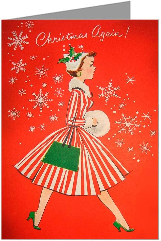 Amazon Com Eight 5x7 Vintage Holiday Greeting Cards In A Boxed Set Of Woman With Red Striped 50 S Dress In A Christmas Spirit Wishing You A Merry Holiday Season Office Products