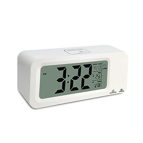 Batería, ihomepack pequeño escritorio reloj de reloj despertador digital con temperatura, humedad, semana