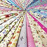 "60pcs Quilting Fabric Squares Sheets 60 Different Lovely Floral Pattern Pack Assorted Sewing Fabric For Craft 10'' x10"" (25cmx25cm) 100% COTTON"