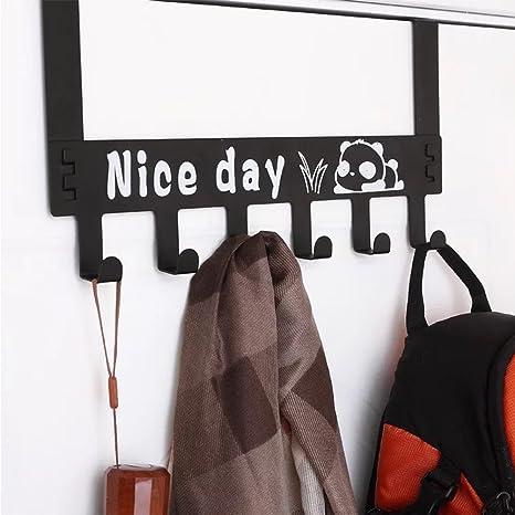 yius woy para puerta (6 ganchos Perchero para puerta puerta Ganchos Gancho sin agujeros multiusos toallero para cocina, baño, Dormitorio – Panda, color negro: Amazon.es: Hogar