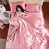 Wholesale Price Solid Color Mulberry Silk Quilt Cover Flat Sheet Silk Pillowcases Satin Duvet Cover (Twin Size, Pink B)