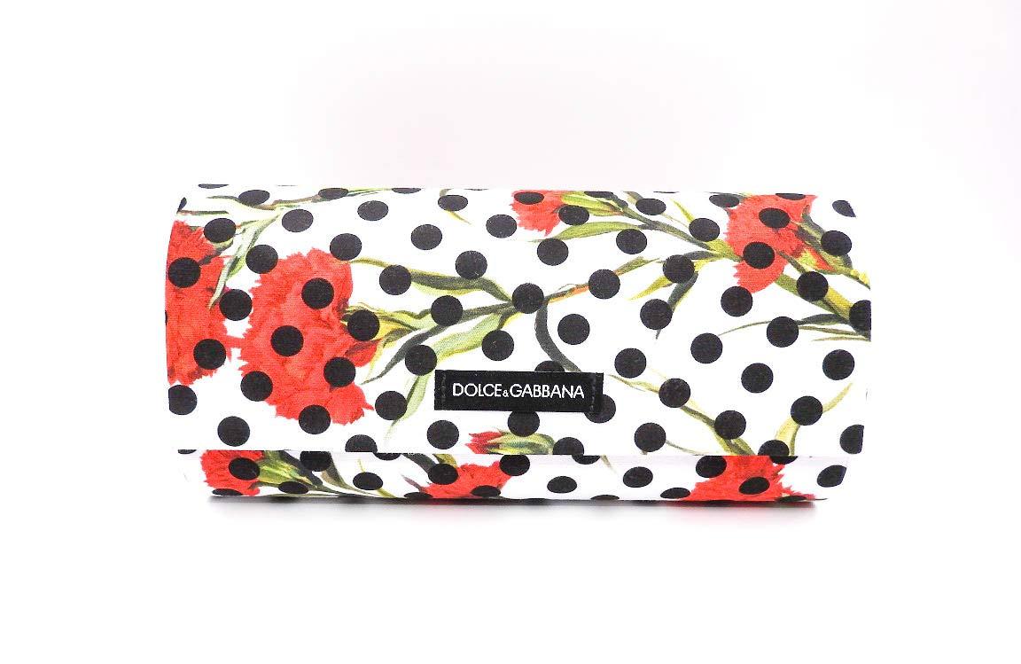 Dolce & Gabbana Polka Dot White Floral Linen Sunglass Case