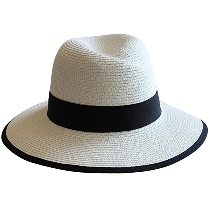 Lanzom UPF50+ Women Wide Brim Straw Panama Hat Fedora Foldable Beach Sun Hat  (Style B 0f385cae8f8