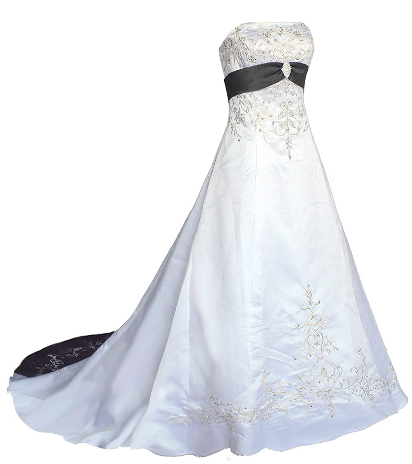 Oailiya Women's Embroidery Satin Wedding Dress Bride Gown