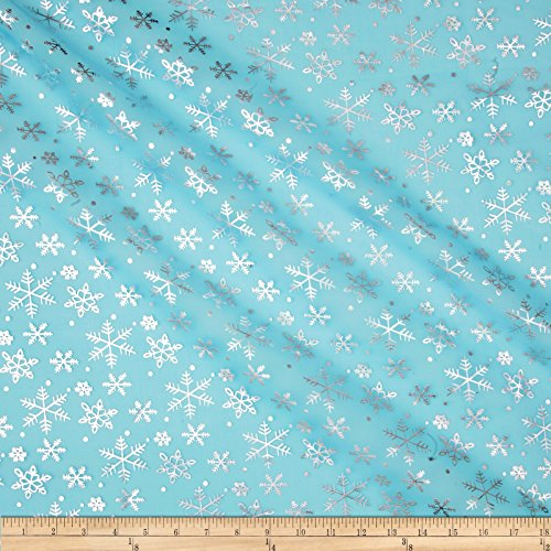 Ben Textiles Snow Foil Organza Turquoise/Silver Fabric By The Yard]()