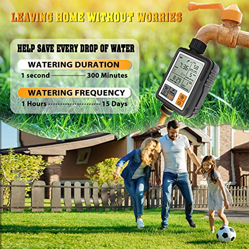 CROSOFMI Sprinkler Timer Digital Programmable Garden Lawn Hose Faucet Water Timer Irrigation System Controller/Child Lock Mode/Auto&Manual Mode/Rain Delay/3 Inches Large Screen/IP65-UPGRADE