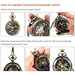 NICERIO Men Pocket Watch,Roman Numerals Semi-Auto Mechanical Windup Steampunk Pocket Watch with Fob Chain,Bronze 7