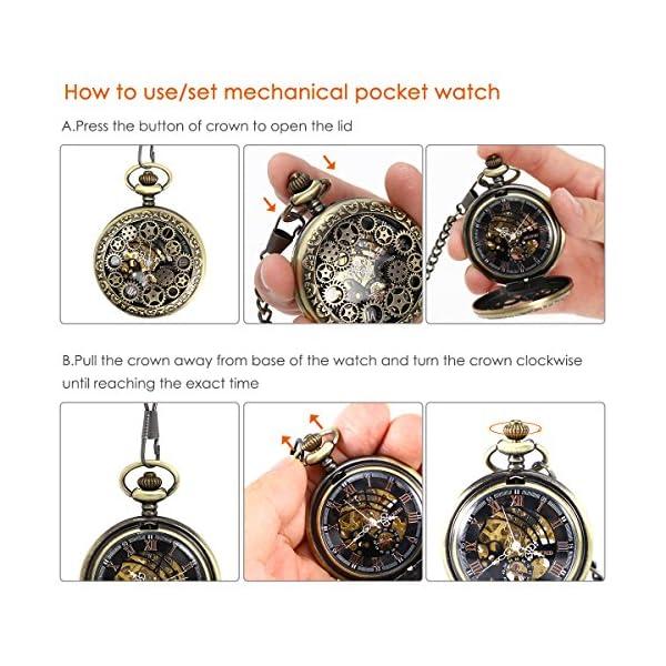 NICERIO Men Pocket Watch,Roman Numerals Semi-Auto Mechanical Windup Steampunk Pocket Watch with Fob Chain,Bronze 4