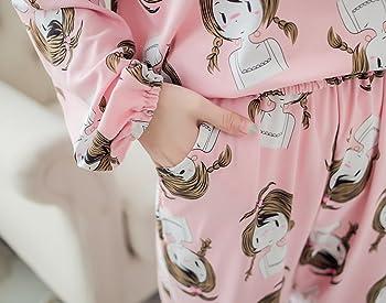 Girls Pajama Set Elastic Cuffs Loungewear Lovely Girl Printed Nightcloth