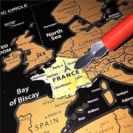 Mapa del Mundo, Vitutech Rasca el Mundo mapamundi para rascar Deluxe Travel Edición Rasca Mapa del mundo cartel personalizado 82.5x59.3cm: Amazon.es: Hogar
