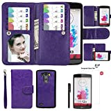 Wallet Case for LG G3, xhorizon TM SR Premium Leather Folio Case Wallet Magnetic Detachable Purse Multiple Card Slots Case Cover for LG G3 (Purple with a 9H Tempered Glass Film)