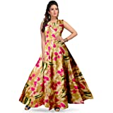 Silver Organisation Women Fit and Flare Rayon Fabric Printed A-Line Maxi Midi Western Long Gown Dress