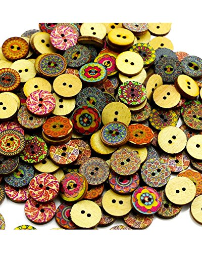 BcPowr 200 PCS Retro buttonMixed Random Shinning Round 2 Holes Wooden Buttons for Sewing Crafting