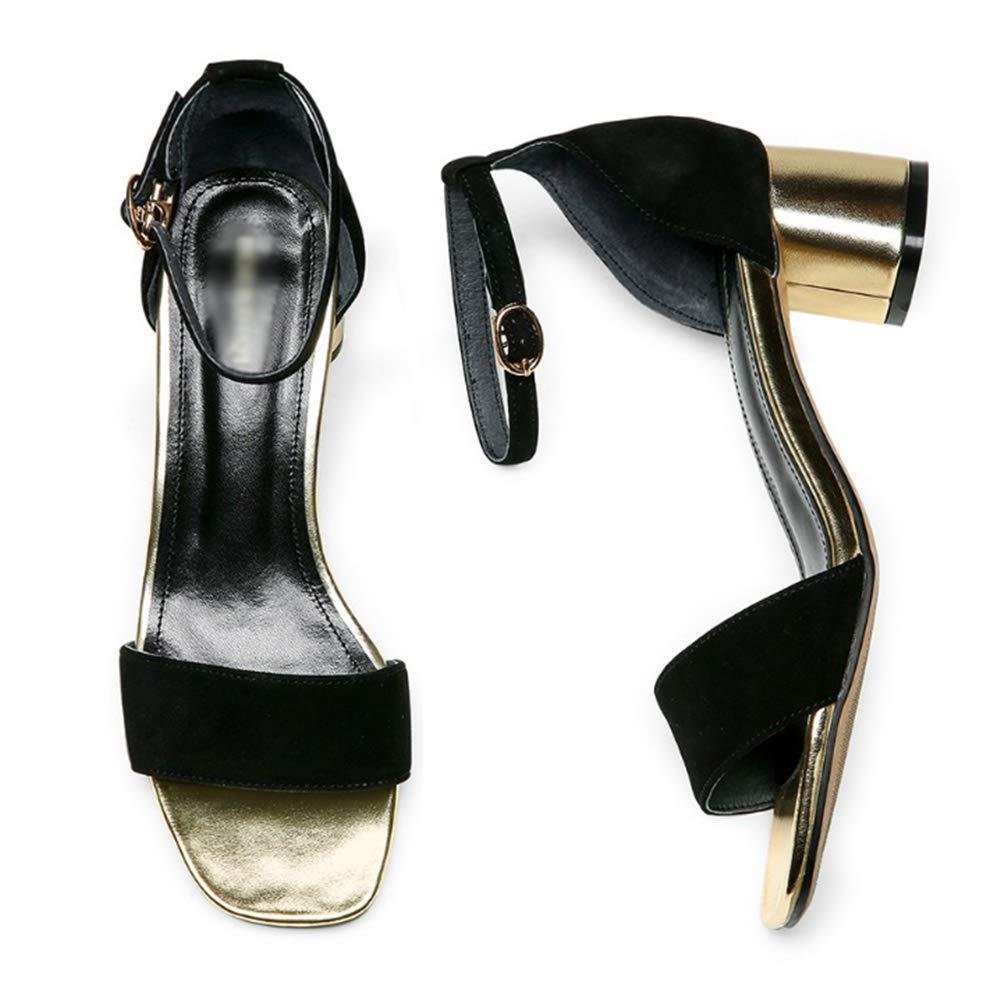 Sandali da Donna con Tacco Tacco Tacco Medio Basso \ Open Toe Hollow Strappy \ Summer Fashion (colore  Nero, Taglia  39) 31e722