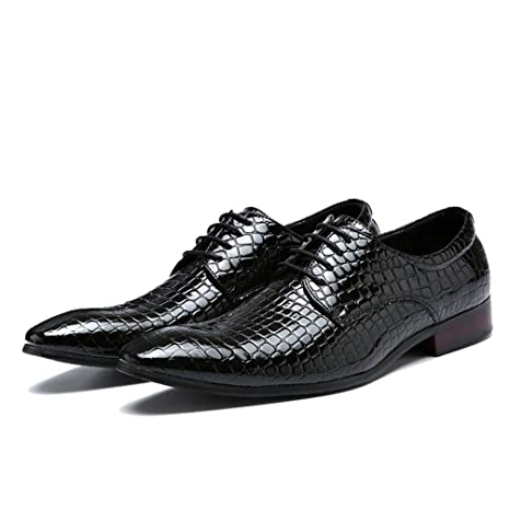 5390fdc00f2b7 Amazon.com: Mens Oxford Shoes Lace Up Pointed Toe Snakeskin Business ...