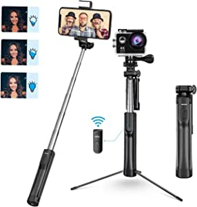 Mpow Selfie Stick, Phone & Camera Tripod Selfie Stick Monopod with 3 Level Fill Light Bluetooth Remote, Compatible with iPhone XS max/XS/XR/X/8/8P/7/7P/6/6s/5, GoPro/Small Cameras, Android Cell Phones