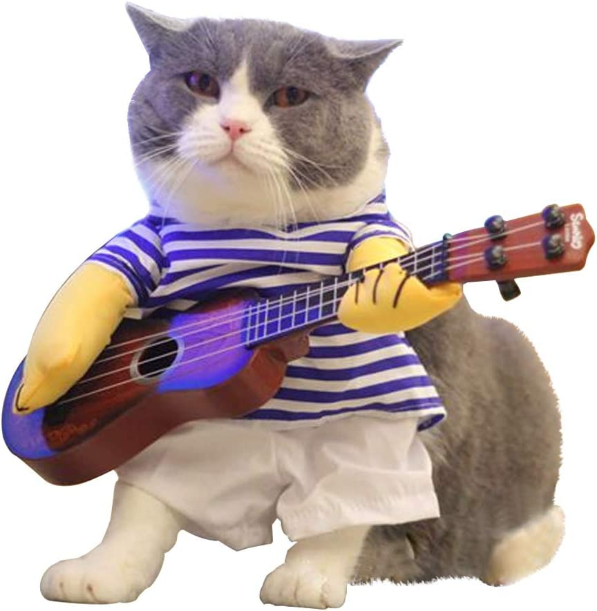Amazon Com Luckstar Pet Guitar Costume Dog Costume Funny Cat Clothes Dogs Cats Super Funny Crazy Guitarist Style Pet Clothes Best Gift For Halloween Christmas Birthday Cosplay Party Weekend Parties M
