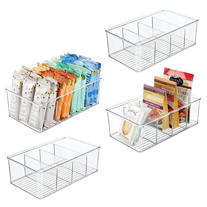 mDesign Plastic Food Storage Organizer Bin Box - 4 Divided Sections - Holder for Seasoning Packets, Pouches, Soups, Spices, Snacks for Kitchen, Pantry, Cabinet, Refrigerator, 4 Pack - Clear
