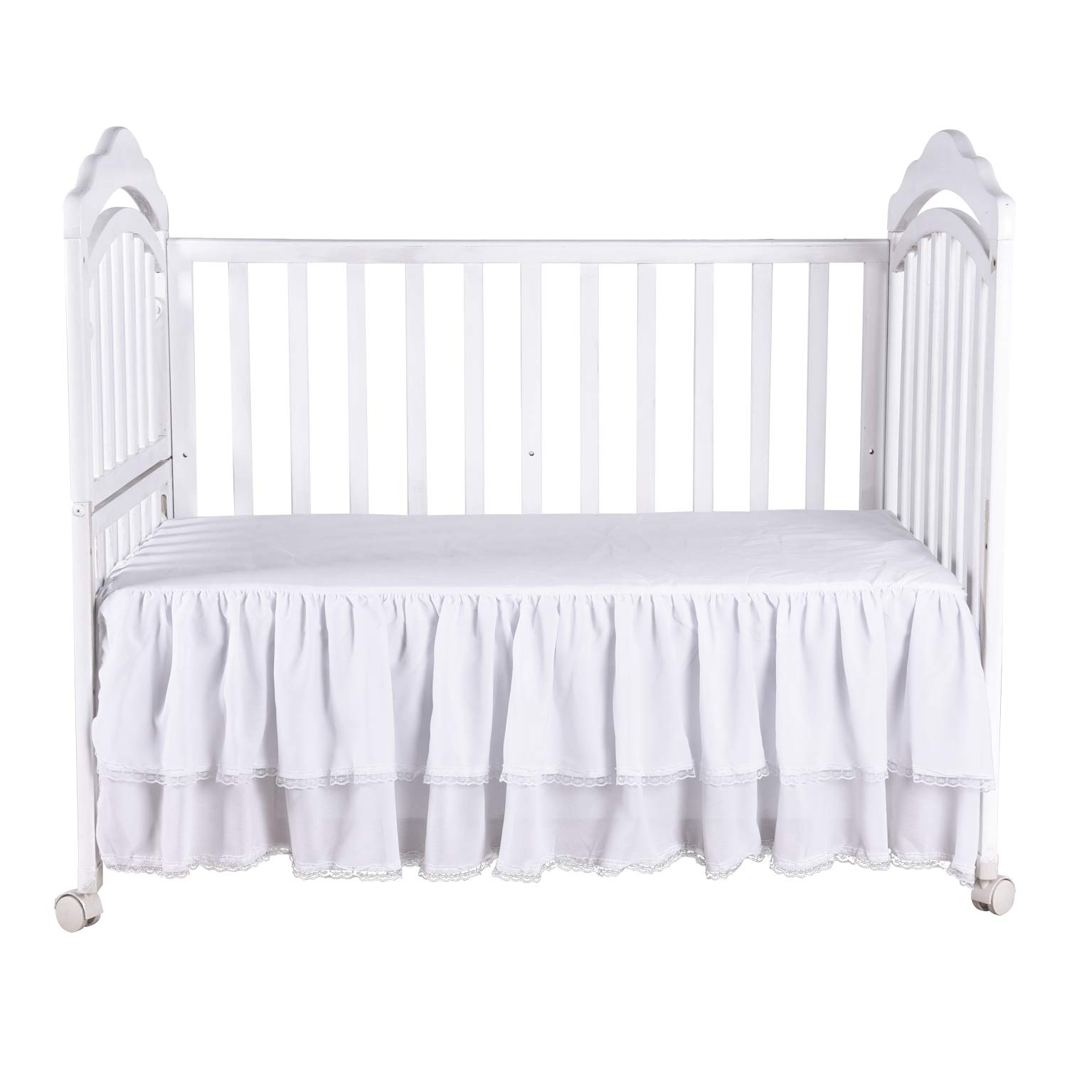 White Ruffle Crib Skirt with Lace Trim Nursery Crib Bed Skirt for Baby Boys and Girls 52 by 28 by 15 Inches by HB HBB MAGIC