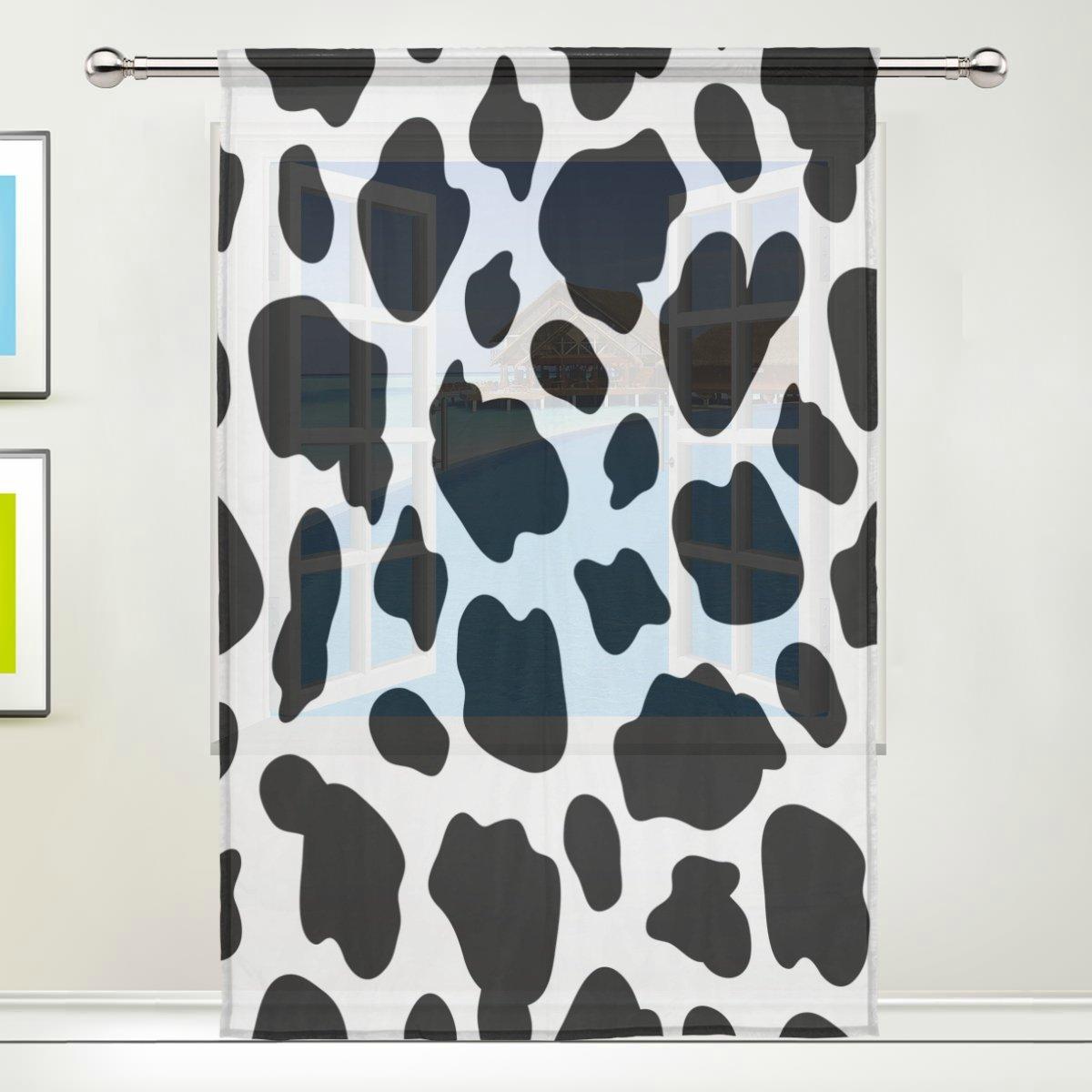 Cortinas personalizadas con estampado de vaca, color blanco y negro