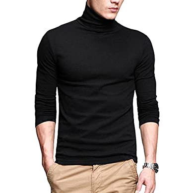 7f00f974b29 fanideaz Branded Cotton Full Sleeve Classic High Neck Black T Shirts For Men  M