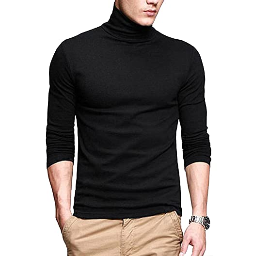 1d124e613 fanideaz Cotton Full Sleeve Classic High Neck Black Tshirt for Men Stylish  L